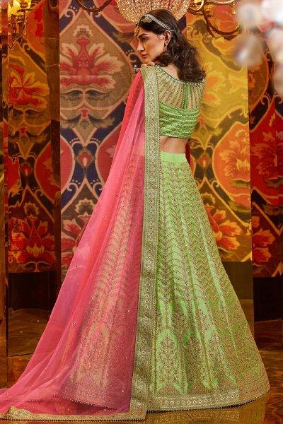 Pista Green Silk Lehenga with Embroidery