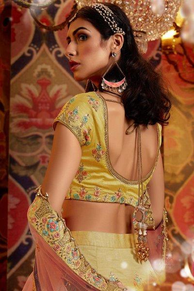 Yellow Silk Lehenga with Embroidery