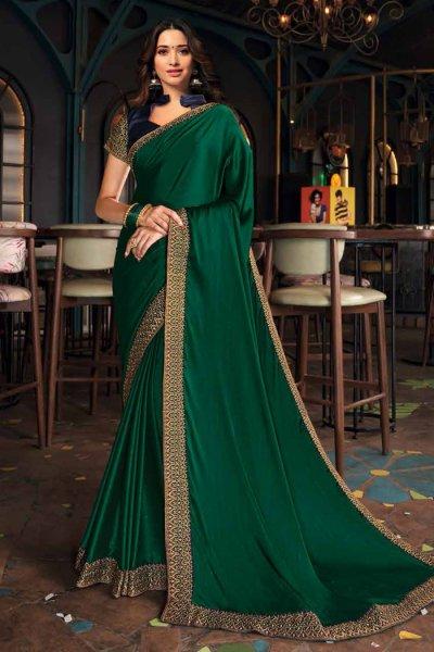 Bottle Green Silk Saree