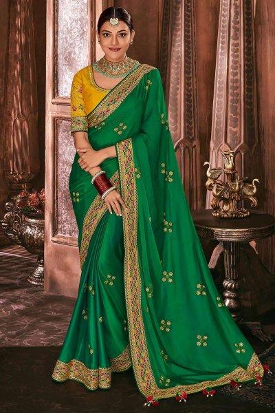 Emerald Green Silk Embroidered Saree