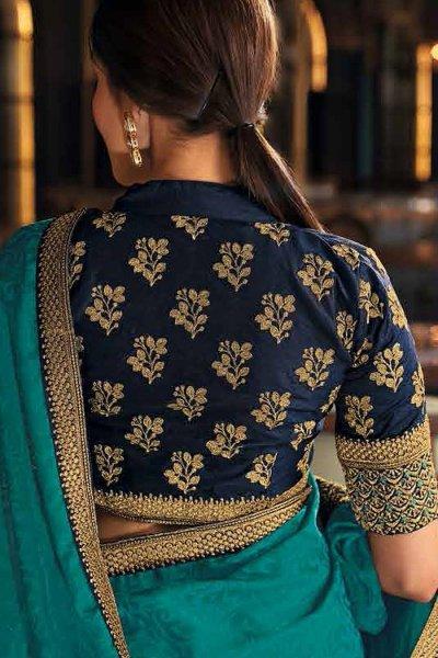 Turquoise Blue Silk Saree