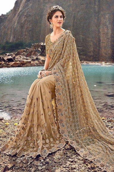 Designer Beige Embroidered Party Wear Saree