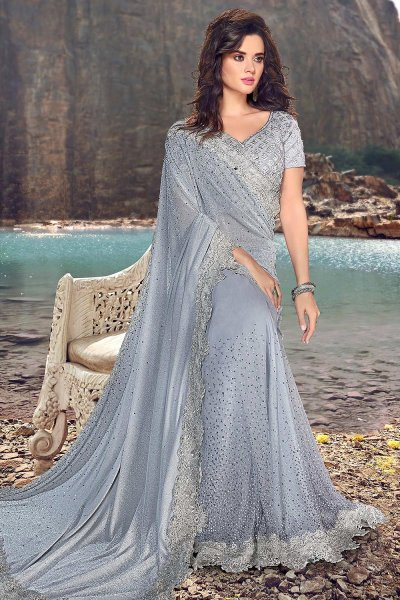 Powder Blue Stone Worked Saree with Embroidered Cutwork Border