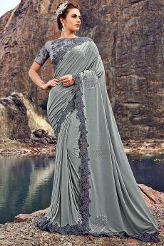 Grey Embellished Silk Saree with Cutwork Lace Border