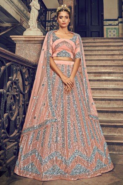 Peach Sequin Embellished Lehenga