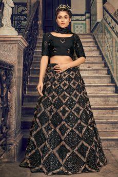 Black Sequin Embellished Lehenga
