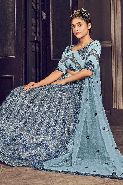 Powder Blue Sequin Embellished Lehenga