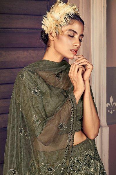 Dark Moss Green Sequin Embellished Lehenga