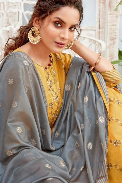 Ready to Wear Mustard Hand Weaved Cotton Palazzo Suit