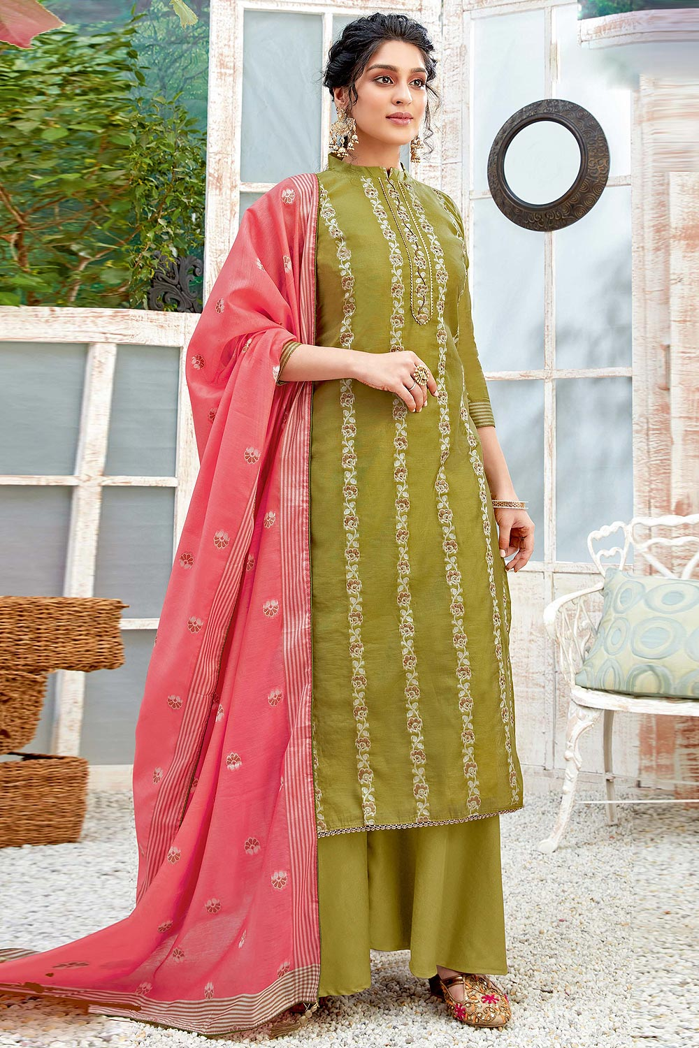 Ready to Wear Mehendi Green Hand Weaved Cotton Palazzo Suit