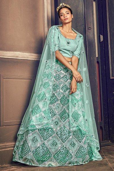 Pastel Blue Sequin Embellished Lehenga
