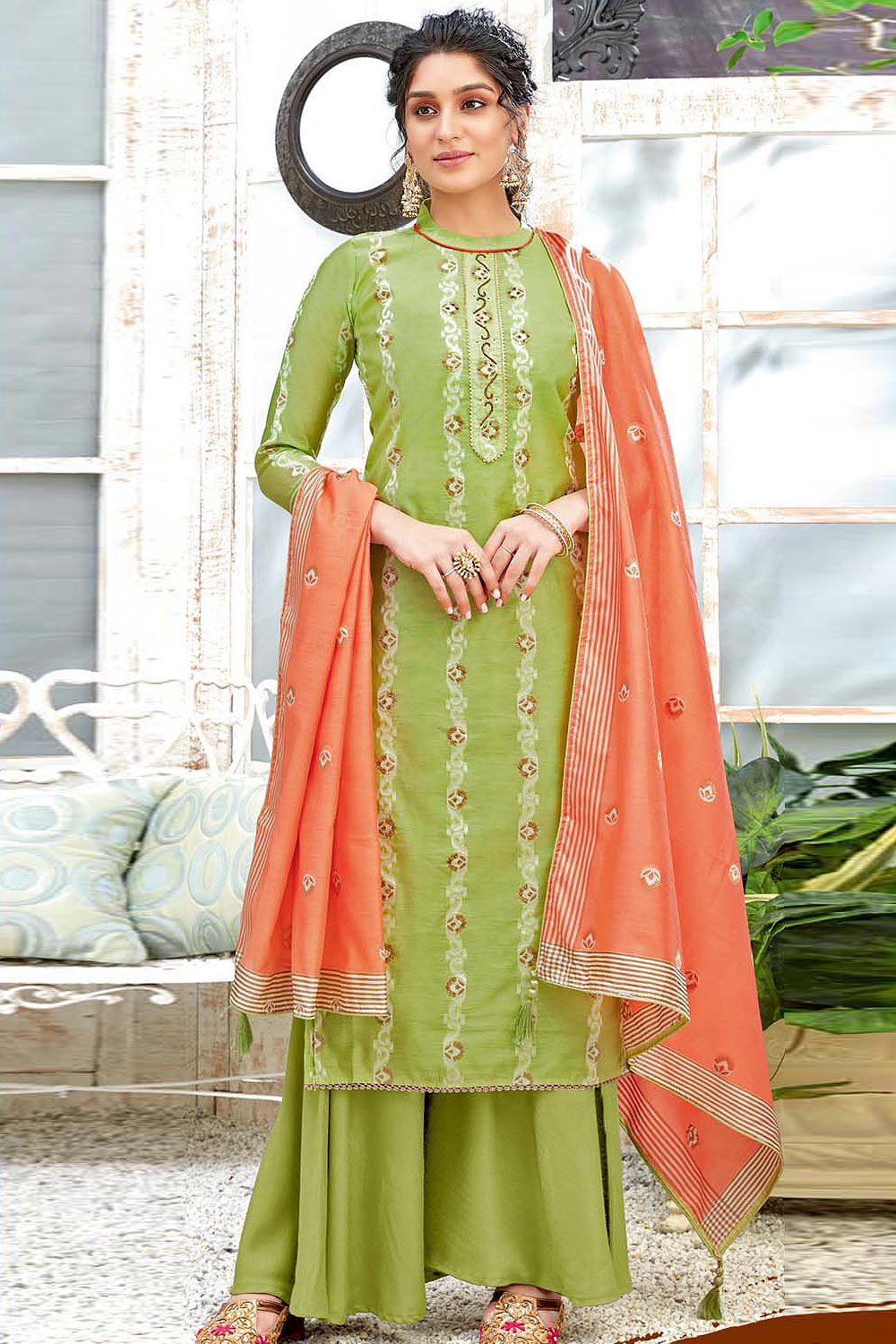 Ready to Wear Green Hand Weaved Cotton Palazzo Suit