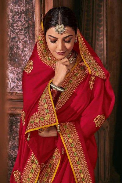 Cherry Red Silk Embroidered Saree
