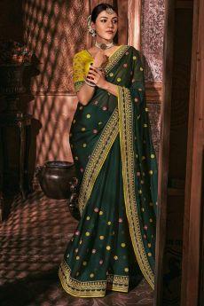 Bottle Green Silk Embroidered Saree