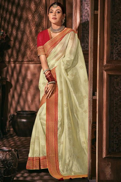 Off White  Silk Embroidered Saree