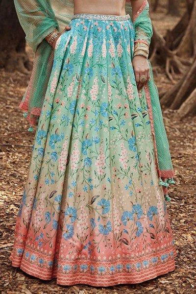 Turquoise Blue & Peach Silk Printed Lehenga with Pistachio Colour Blouse