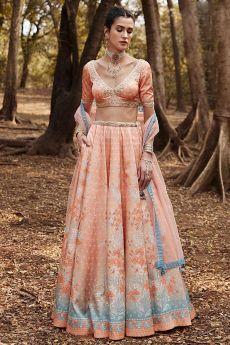 Peach Silk Printed Lehenga With Hints Of Blue