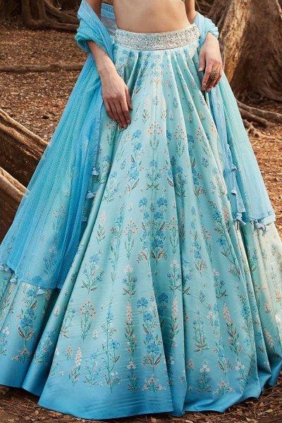 Light Blue Silk Printed Lehenga