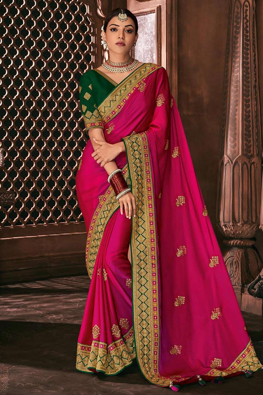 Pink Silk Embroidered Saree