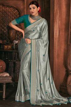 Shiny Silver Grey Silk Embroidered Saree