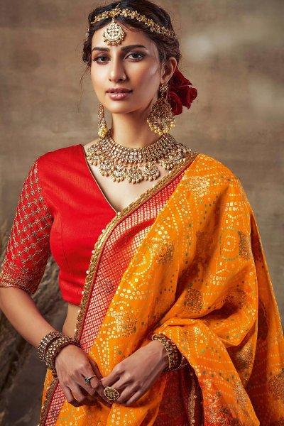 Yellow Bandhani Silk Saree