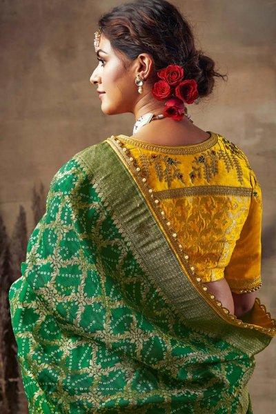 Green Bandhani Silk Saree