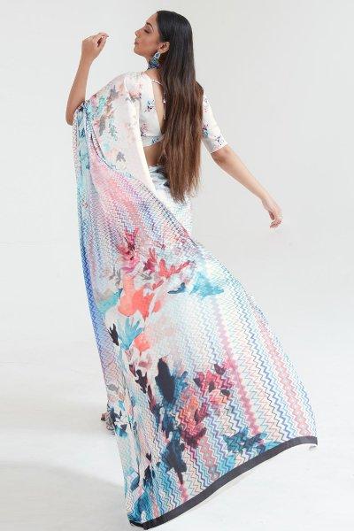 White Satin Silk Multi Colour Floral Print Saree