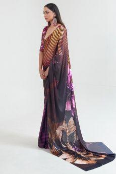 Dark Satin Silk Multi Colour Floral Print Saree