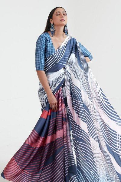 Blue Satin Silk Multi Colour Geometric Print Saree
