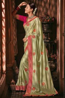 Shiny Light Green Silk Embroidered Saree