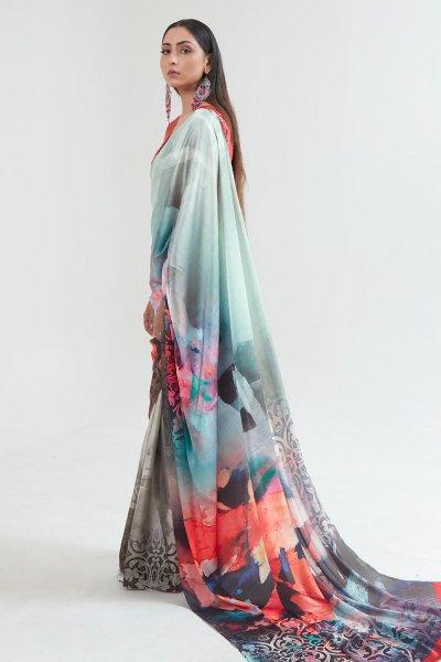 Blue Satin Silk Multi Colour Floral Print Saree