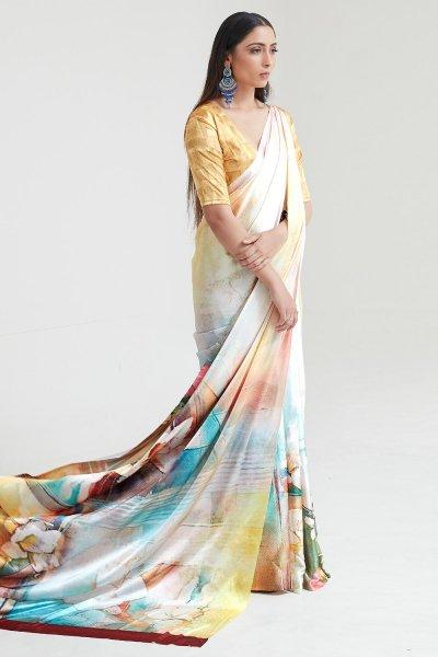 Yellow Satin Silk Multi Colour Floral Print Saree