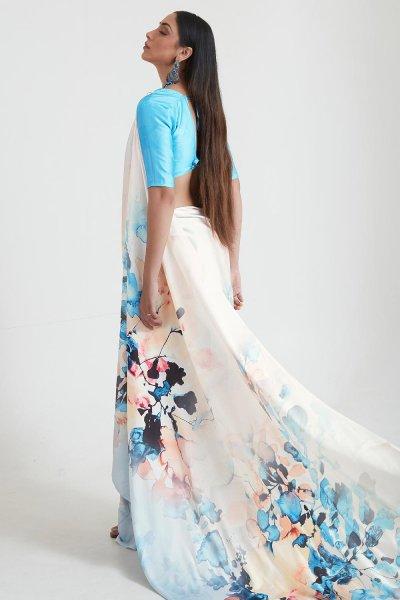 White And Blue Satin Silk Multi Colour Floral Print Saree