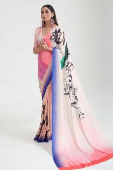 Pink and Peach Satin Silk Multi Colour Abstract Print Saree