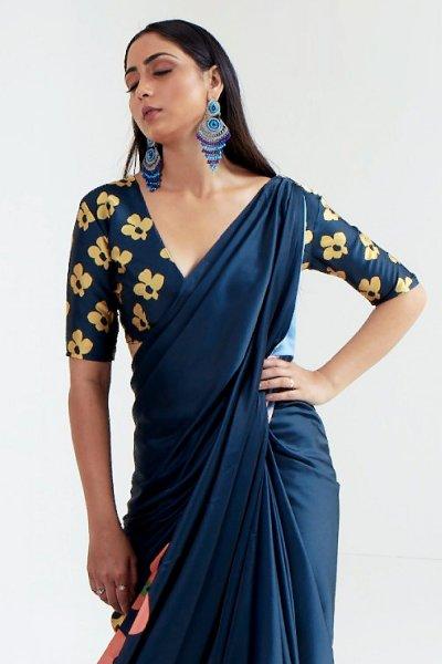 Dark Blue Satin Silk Multi Colour Abstract Print Saree