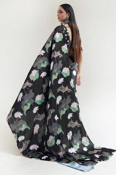 Black Satin Silk Multi Colour Abstract Print Saree