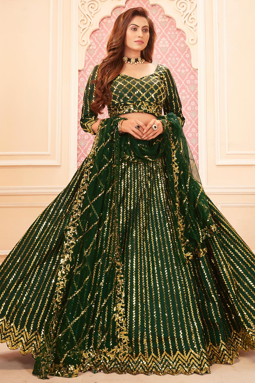 Dark Green Sequin Embellished Satin Silk Lehenga