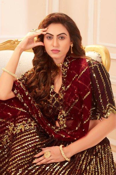 Maroon Sequin Embellished Satin Silk Lehenga