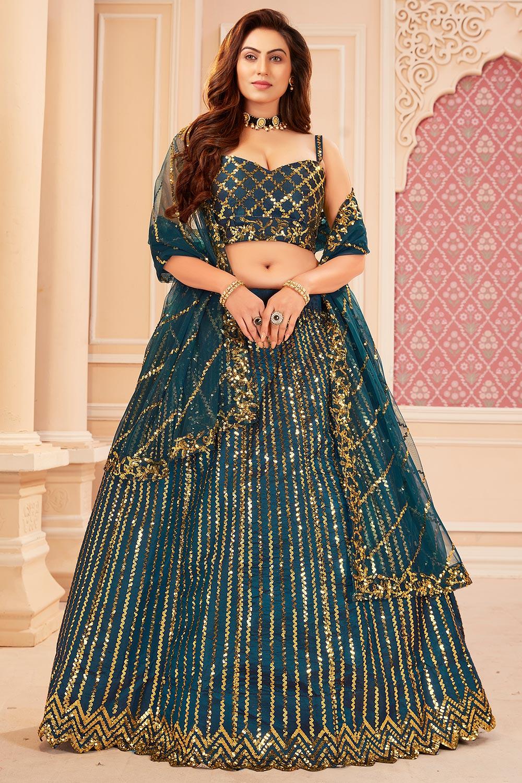 Blue Sequin Embellished Satin Silk Lehenga