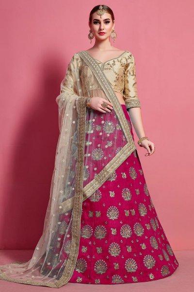Pink & Beige Silk Zari Embroidered Lehenga Set