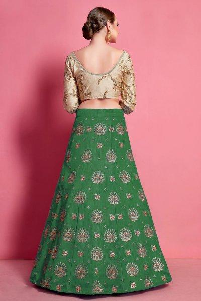 Green & Beige Silk Zari Embroidered Lehenga Set