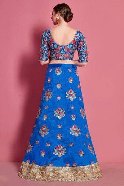 Blue Silk Zari Embroidered Lehenga Set