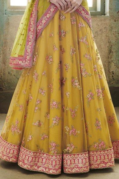 Yellow & Pink Net Embroidered Lehenga Set