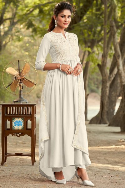 Pearl White Embroidered Anarkali Style Suit