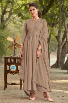 Beautiful Brown Embroidered Anarkali Style Set