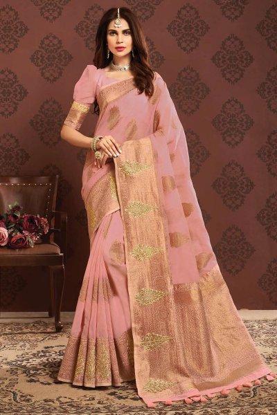 Light Pink Grey Zari Weaved Banarasi Cotton Saree