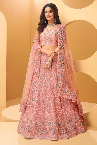 Rose Pink Embroidered Net Lehenga Set