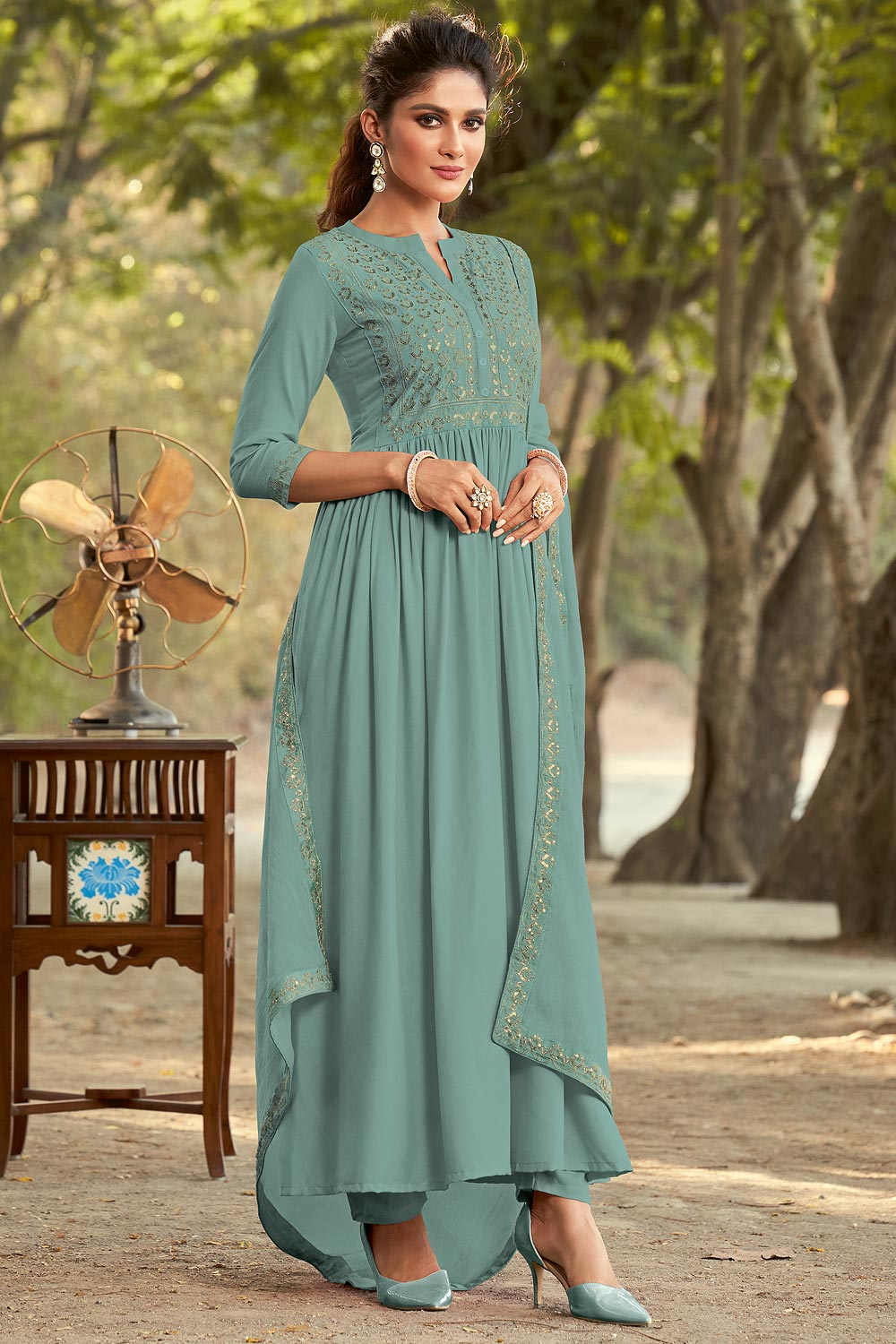 Pale Teal Embroidered Anarkali Style Suit