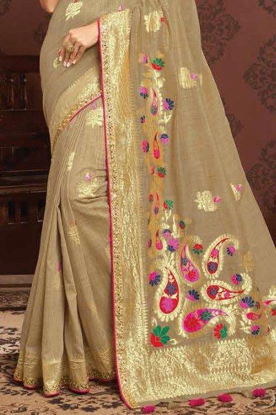Light Brown Zari Weaved Banarasi Cotton Saree