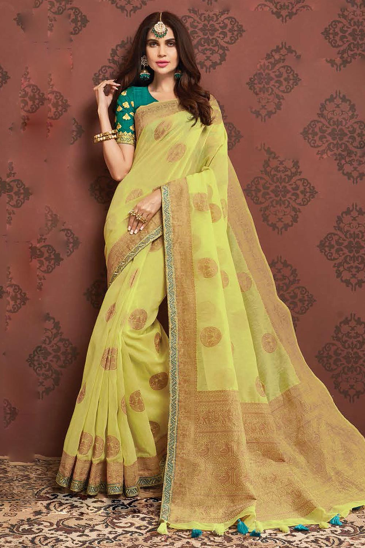 Lemon Yellow Zari Weaved Banarasi Cotton Saree